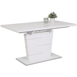 Hela Esstisch Sila T in weiß Hochglanz, mit ausziehbarer Tischplatte
