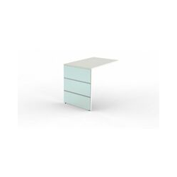 Lugano Anbautisch mit Wangen - 1000 x 600 x 750 mm - weiss verglast Verglasung