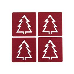 4 Filz Untersetzer Weihnachtsbaum Glasuntersetzer Weihnachtsdeko - weinrot