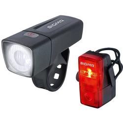 Sigma Fahrradbeleuchtung Set AURA 25 FL + CUBIC RL K-SET batteriebetrieben Schwarz