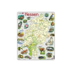 Larsen Puzzle Rahmen-Puzzle, 68 Teile, 36x28 cm, Karte Hessen, Puzzleteile