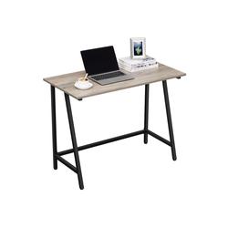 VASAGLE Schreibtisch LWD040B02, Computertisch Homeoffice stabil platzsparend 100 x 50 x 75 cm greige-schwarz
