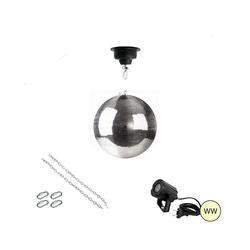 SATISFIRE Discolicht Spiegelkugel Komplettset 30cm mit Motor, LED Pinspot (warmweiss)