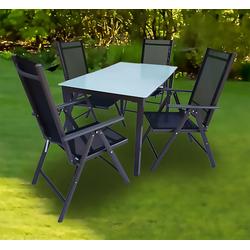 VCM Sitzgruppe Alu Garten - Sitzgruppe 140 x 80 Mattglas, (5-tlg)