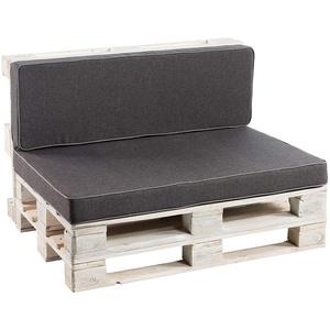 Palettenkissen Sitzkissen, Rückenkissen Schaumkissen glatt PFK (Deko Kissen 40x40, Anthrazit)