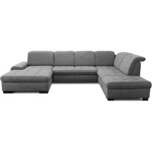 CAVADORE U-Form Lexi mit XXL-Longchair / Inkl. Bett, Stauraum und Kopfteilfunktion / Leichte Fleckenentfernung dank Soft Clean / 329 x 82-99 x 224 / Flachgewebe: Grau