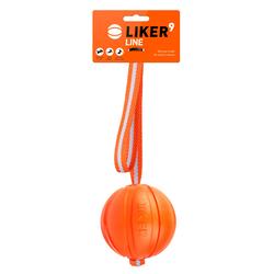 LIKER LINE Dog toy Hundeball mit Gurtband und Schlaufe 9 cm