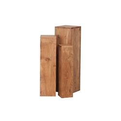 FINEBUY Satztisch SuVa2516_1, Beistelltisch 3er Set Massivholz 24,5x85x24,5 cm Tische Holztisch Natur-Produkt Echtholz Beistelltische Dekosäulen Drei Holztische Braun Blumenhocker Holz Modern (FSC® Mix) braun