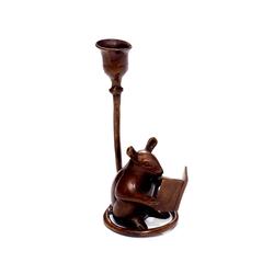 Brillibrum Kerzenständer Kerzenständer Bronze Kerzenständer Vintage Leseratte Tierfigur Maus Tischdekoration versilbert für Stabkerzen