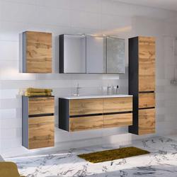 Badezimmer Einrichtung mit Doppelwaschbecken LED Beleuchtung (5-teilig)