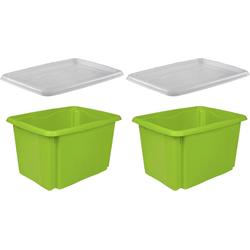 keeeper Stapelbox emil (Set, 2 Stück), mit Deckel, 44,5 x 34,5 x 27 cm, 30 Liter, 2er Set grün