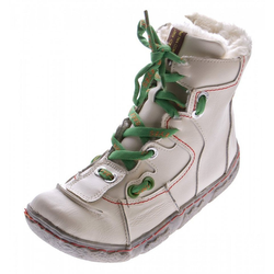 TMA Damen Leder Winter Stiefeletten TMA Schuhe Stiefel Stiefelette Gefüttert, Used Look, Schnürsenkel weiß 36 EU