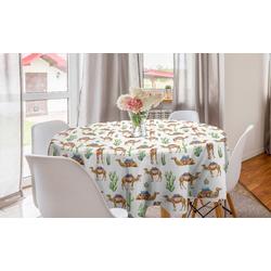 Abakuhaus Tischdecke Kreis Tischdecke Abdeckung für Esszimmer Küche Dekoration, orientalisch Kamele mit Sättel