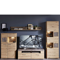 Fernseher Schrankwand in Graubraun und Wildeiche Optik LED Beleuchtung (4-teilig)