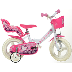 Hello Kitty Kinderfahrrad Hello Kitty, mit Lenkerkorb + Puppensitz