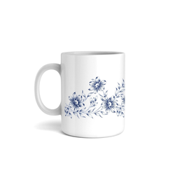 Kreative Feder Tasse, Tasse mit Motiv, Keramiktasse, fasst ca. 300ml, Kaffe, Tee, Bürotasse, Büro, Blumen, Blüten, Natur, Ornament