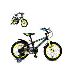 Byox Kinderfahrrad Kinderfahrrad Monster 16 Zoll, 1 Gang 1 Gang, keine, schwarz, Stützräder, Metall-Rahmen, Klingel