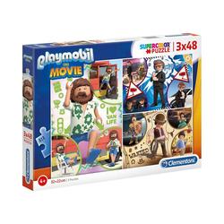 Clementoni® Puzzle Puzzle 3 x 48 Teile Supercolor Playmobil the Movie, Puzzleteile