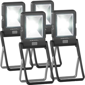 PEARL Werkstattleuchte LED: 4er Pack LED-Arbeitsleuchte im Baustrahler-Design mit 3 Watt COB-LED (LED-Fluter Batterie)