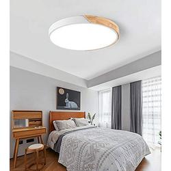 Natsen Deckenleuchte, LED Deckenlampe 36W runde Holz dimmbar mit Fernbedienung warmweiss-kaltweiss Lampe für Esszimmer Kinderzimmer (50 x 50 x 5cm) Ø 50 cm x 50 cm x 5 cm