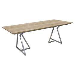 Zebra Triangel Gartentisch 210x100cm Edelstahl/Teak Braun|Hellgrau