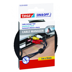 tesa On & Off Klett Kabelbinder 12 mm x 36 cm, schwarz