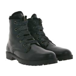 Clic clic! Biker-Boots rockige Damen Echtleder-Stiefel mit 5-Loch Schnürung Stiefelette Schwarz Stiefel 37