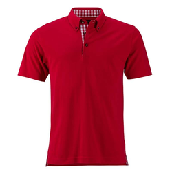 Klassisches Poloshirt im Trachtenlook | James & Nicholson rot/rot/weiß XXL
