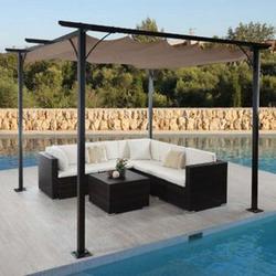 Pergola MCW-C42, Garten Pavillon, stabiles 6cm-Gestell + Schiebedach ~ 3,5x3,5m taupe