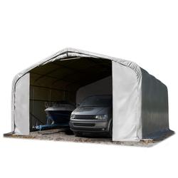 Toolport Zeltgarage 7x7m PVC 550 g/m² grau wasserdicht Garagenzelt