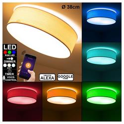 etc-shop Smarte LED-Leuchte, Decken Lampe Alexa Google App Holz Optik Tageslicht Leuchte DIMMBAR im Set inkl. RGB LED Leuchtmittel