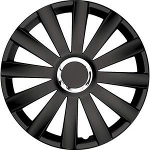 """kh Teile Radkappen 17 Zoll Spyder pro Black schwarz 17"""" 2-Fach lackiert mit Chromring Radzierblenden 4er Set, komplett"""
