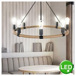 etc-shop Kronleuchter, Kronleuchter Wohn Raum Filament Pendel Leuchte Hanf Seil Hänge Lampe im Set inkl. LED Leuchtmittel