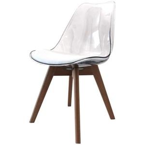 Zons Alba Stuhl, Polypropylen, transparent, Füße aus Holz, skandinavischer Stil, 2 Stück