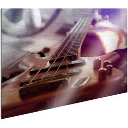 Art & Pleasure Metallbild Bass guitar, Gitarre