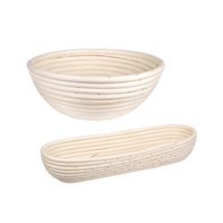 BigDean Gärkorb Gärkörbchen für Brot−Teig − Korb für Hobby−Bäcker − oval und rund 1,5 kg, (2-tlg) 1.5 ml