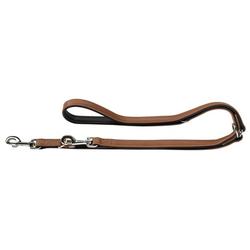 Hunter Hundeleine Canadian aus Elchleder, Verstellbare Leine 20 mm breit, Länge 2 m, cognac/schwarz