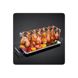 PRECORN Hähnchenbräter BBQ Hähnchenschenkel Halter mit Auffangschale für Grill Backofen Hähnchen Grill Ständer für 14 Keulen