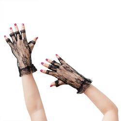 Netzhandschuhe Spitze kurz Gothic Karneval Fasching - schwarz