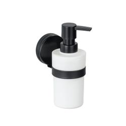 WENKO Seifenspender Pavia Static-Loc® Plus, schwarz, Stylischer Pumpspender für Flüssigseifen oder Spülmittel, Füllmenge: 220 ml