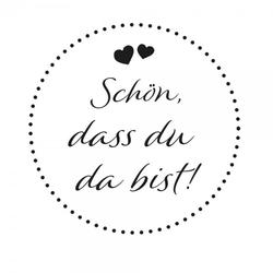 Hochzeitsstempel – Schön, dass Du da bist - Herzen 2 (Ø 50 mm)