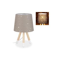relaxdays Tischleuchte Tischlampe Kinderzimmer Sterne grau