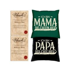 Soreso® Dekokissen Kissen-Set Ich bin Papa der Chef hier Ich bin Mama die Chefin hier mit Urkunden, Geburstagsgeschenk Geschenkidee grün