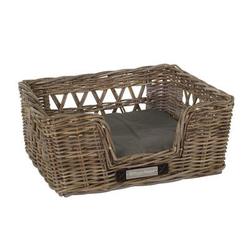 Klassischer Luxury Rattankorb für Hunde, S: 54x46x24 / 47x40 cm