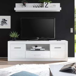 TV Lowboard in Hochglanz Weiß 180 cm breit