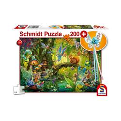 Schmidt Spiele Puzzle Feen im Wald, 200 Teile, mit add on (Feenstab), Puzzleteile