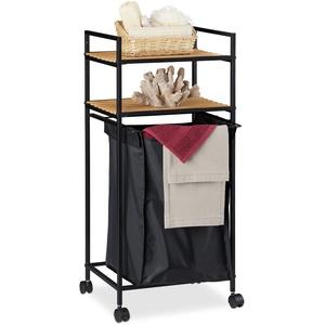 Relaxdays Rollregal Bad, 2 Ablagen, Badregal mit Wäschekorb, Metall, Bambus, HBT: 89,5 x 39 x 32,5 cm, schwarz/natur