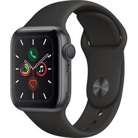 Apple Watch Series 5 (GPS) 40mm Aluminiumgehäuse Space Grau, Sportarmband Schwarz