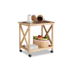 relaxdays Küchenwagen Küchenwagen aus Walnussholz