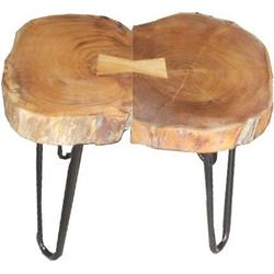 Casa Padrino Beistelltisch Akazien Holz / Eisen 55 - 70 cm - Industrial Möbel Hocker Tisch